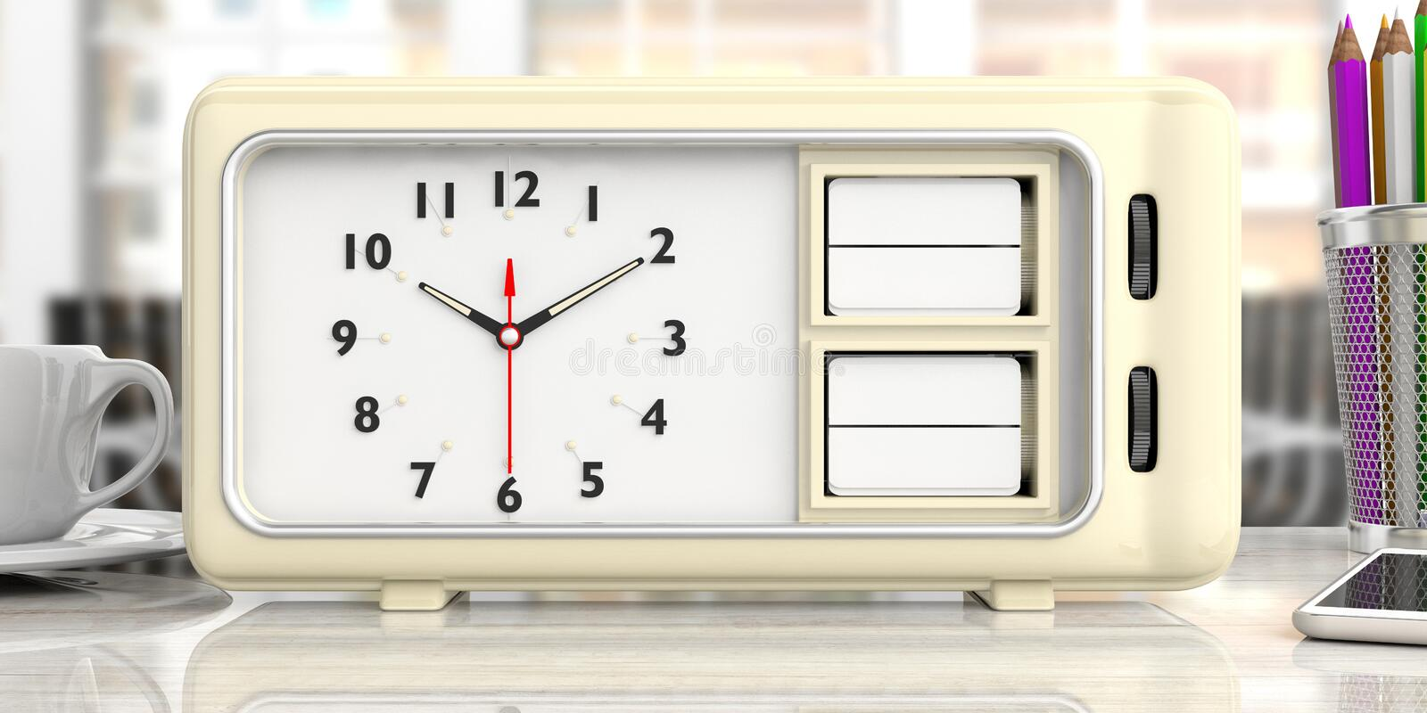 Old retro alarm clock with blank date and day, office desk background. 3d illustration stock illustration