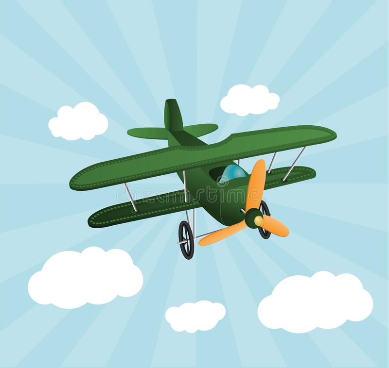 Green cartoon plane flying over sky with clouds. Old retro biplane designed for poster printing. Model aircraft, two wings stock illustration