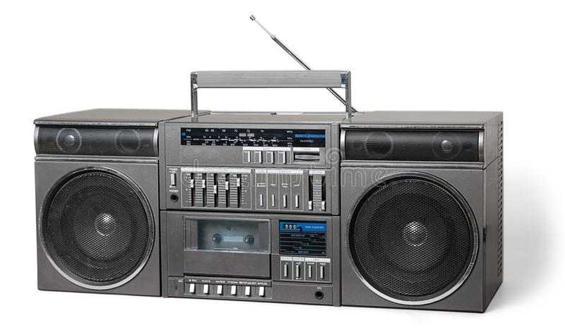 Old retro blaster cassette tape recorder. Ghetto blaster night club play background design studio love stock photo