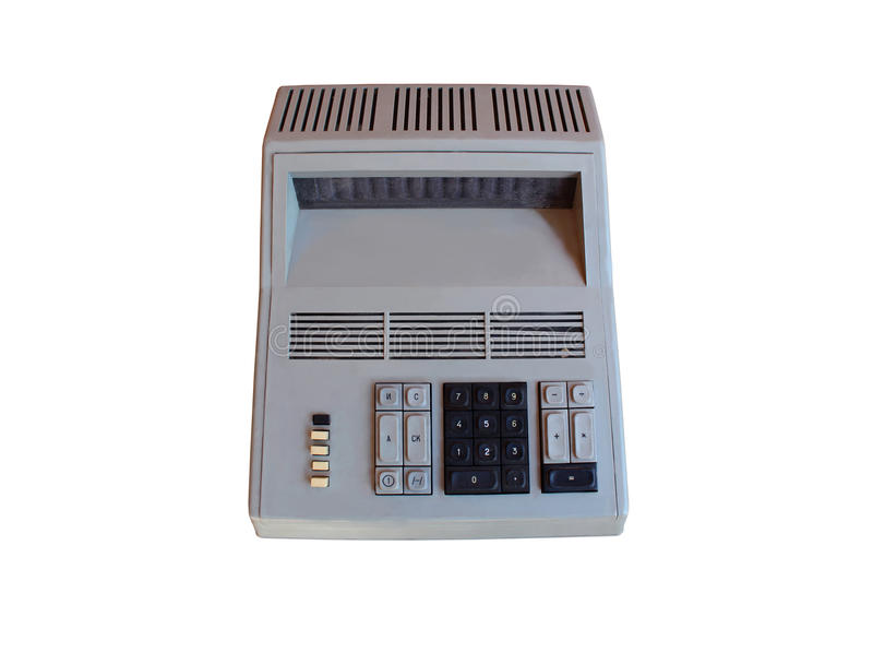 Old retro calculator isolated stock photography