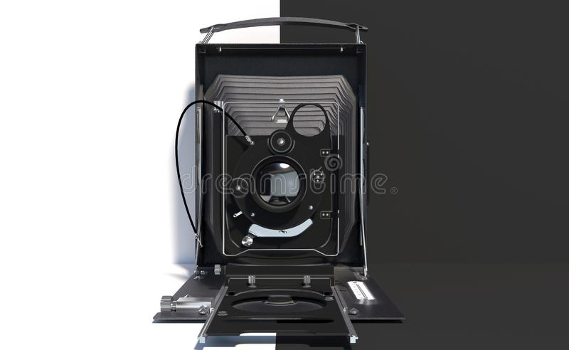 Old retro camera on a black and white background. Creative conceptual illustration with copy space. 3D rendering. Old retro camera on a black and white stock illustration
