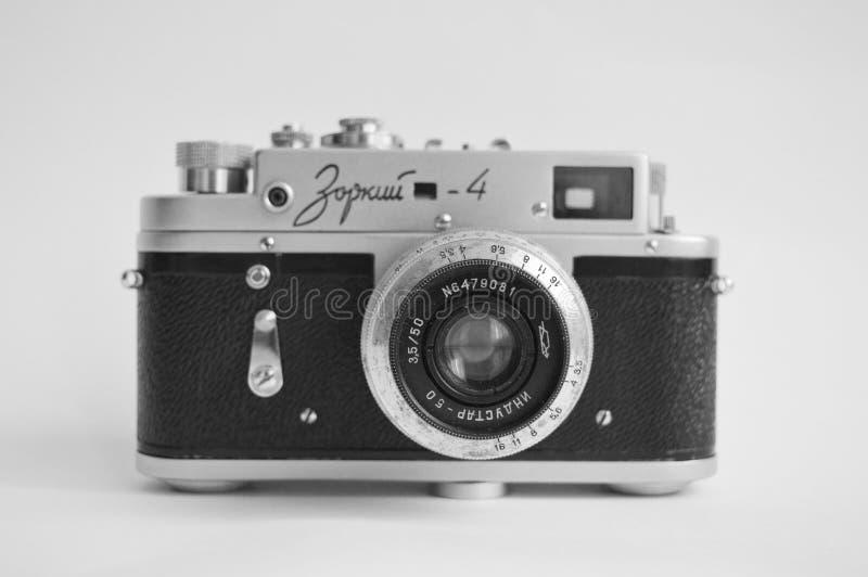 Old retro camera. Soviet camera Zorkii-4 in black&white royalty free stock photos