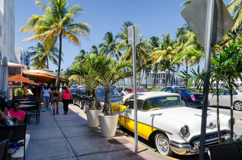 Old retro car parked along ocean dr. street. Miami Beach, Florida, US - May 17, 2015 - old retro car parked along ocean dr. street in south Miami beach royalty free stock photo