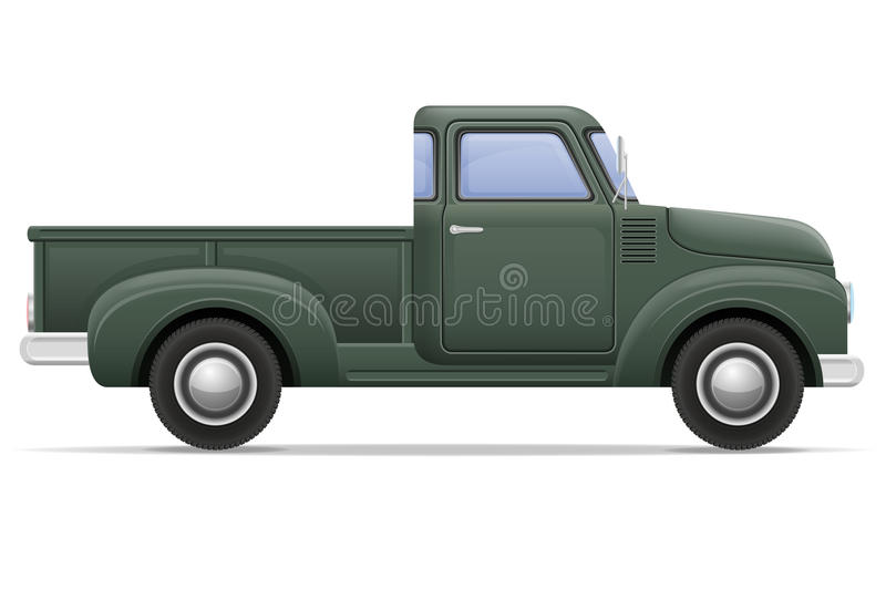 Old retro car pickup vector illustration. Isolated on white background vector illustration