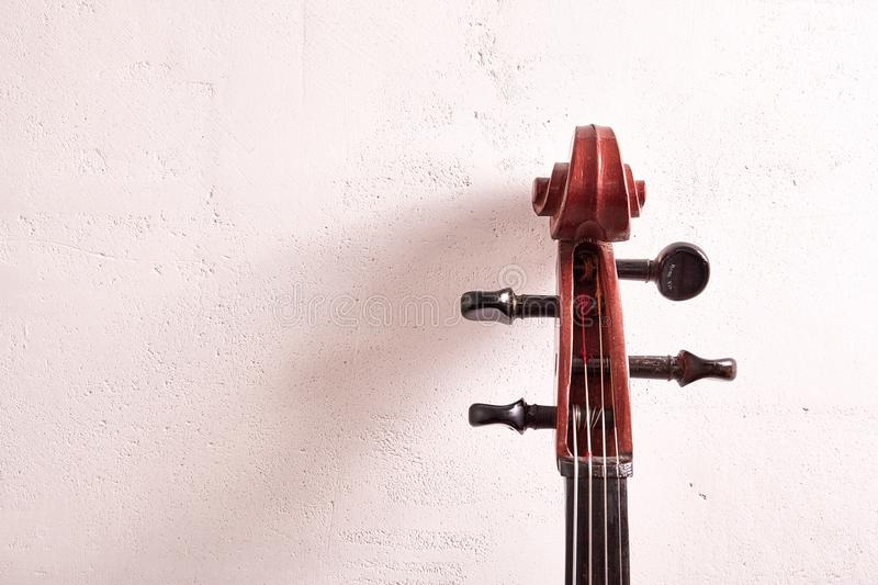 Old retro cello. In room. Music background royalty free stock photography
