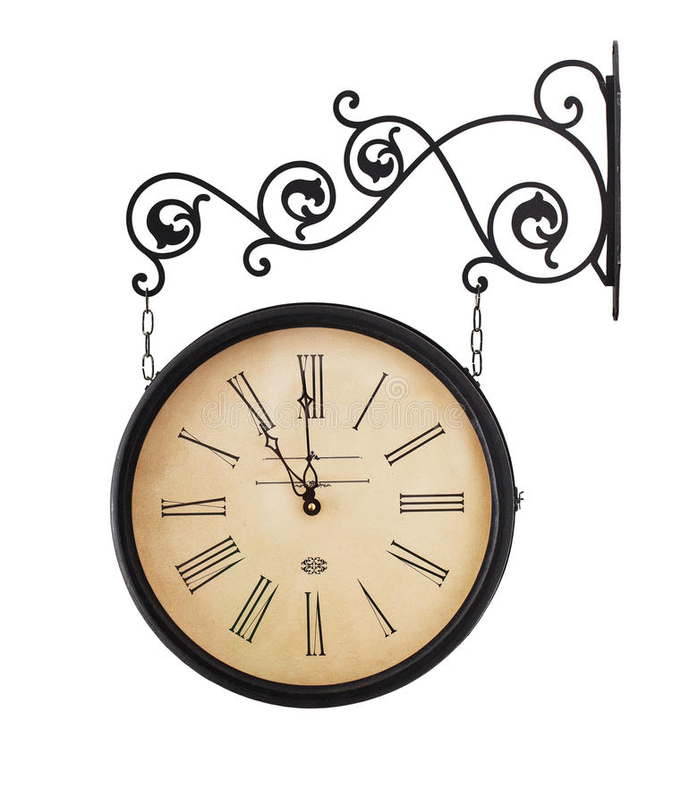 Old, retro clock. Close up of old, retro clock isolated on white background stock photos