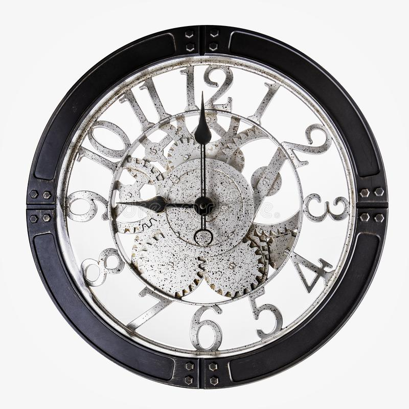 Old Retro Clock on a white background. Old Clock on a white background stock photos