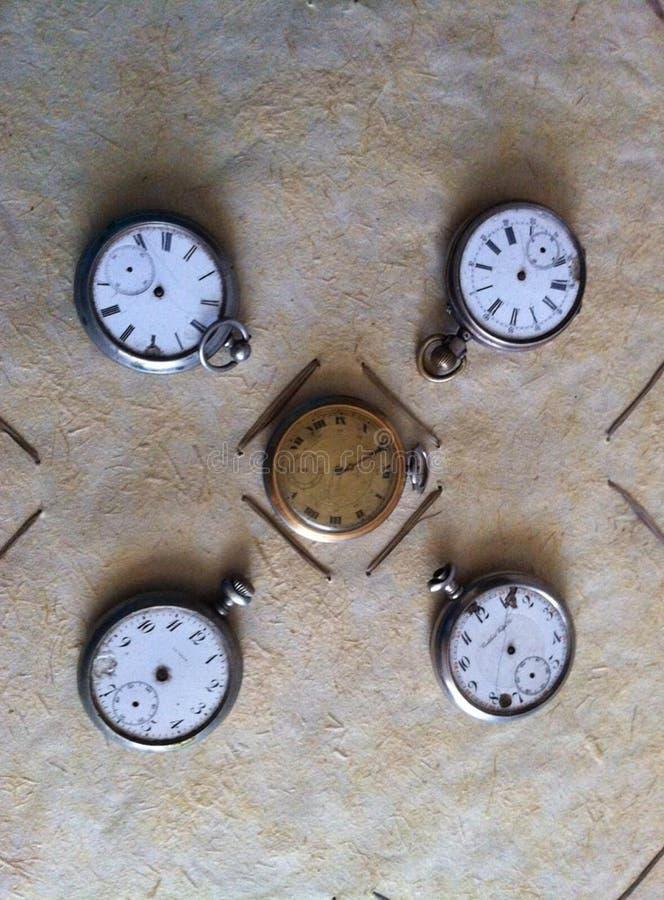 Old retro clocks stock images