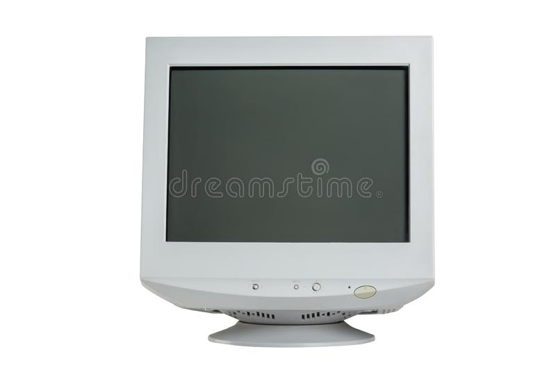 Old retro CRT monitor display isolated on white background stock photo