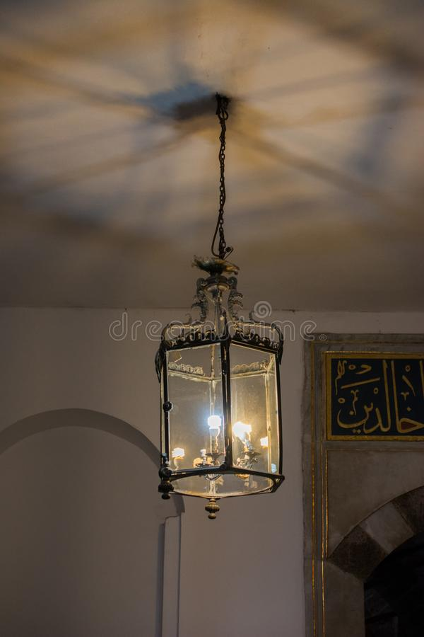 Old retro electric street lamps made of metal style stock photos