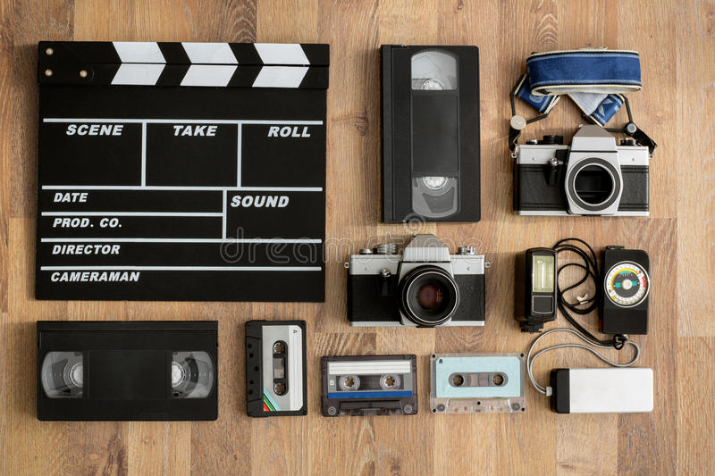 Old retro equipment on wooden boards royalty free stock images