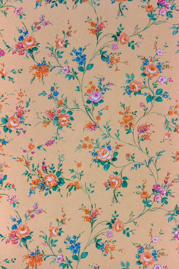 Old retro floral wallpaper, background, backgroun stock photo