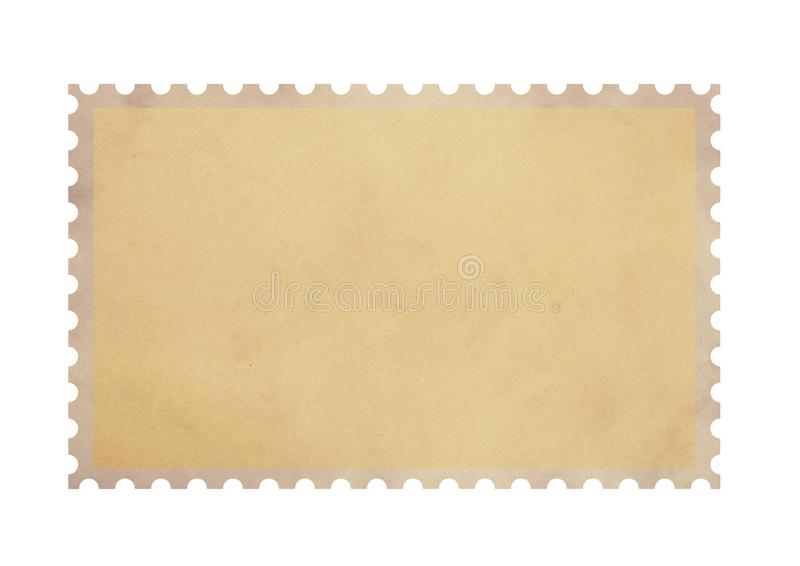 Old blank postage parchment paper stamp on white stock photo