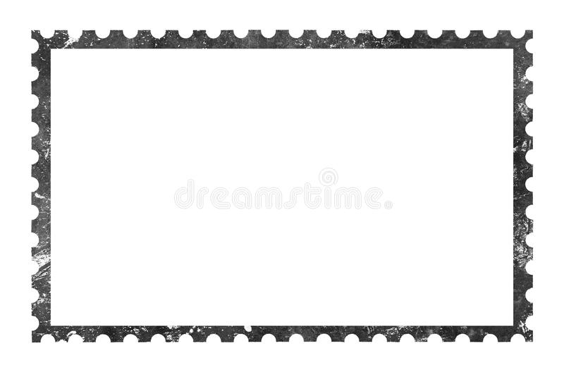 Old grunge blank postage paper stamp on white vector illustration