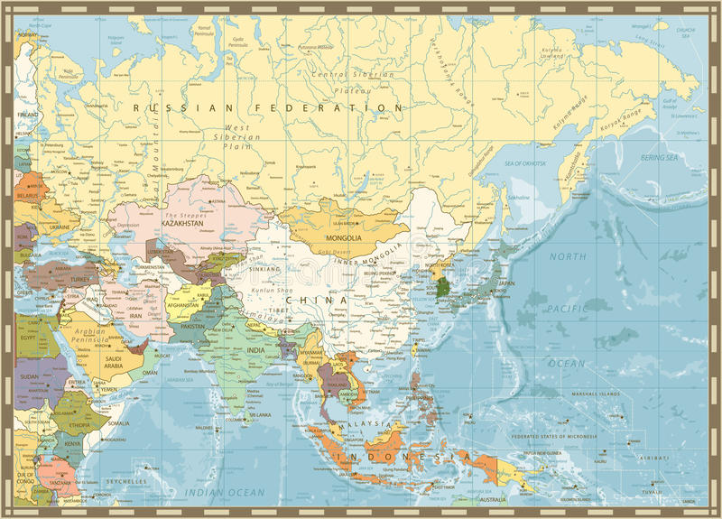 Old retro map of Asia and bathymetry. With rivers, lakes and elevations stock illustration