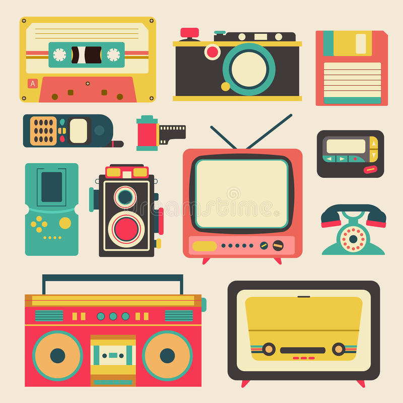 Old retro media communication technology such as mobile phone. Camera radio television diskette cassette tape pager and loudspeaker amplifier flat icon design vector illustration