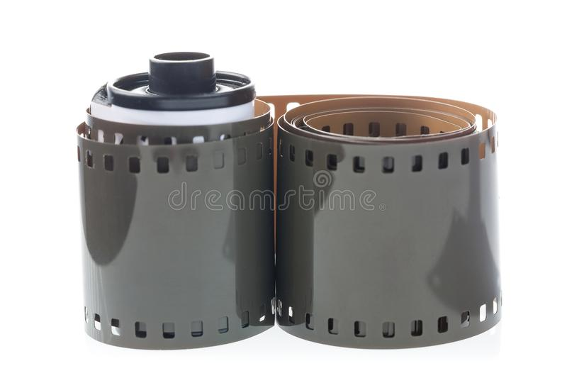 Old retro 35 mm film reel isolated on white background royalty free stock photo
