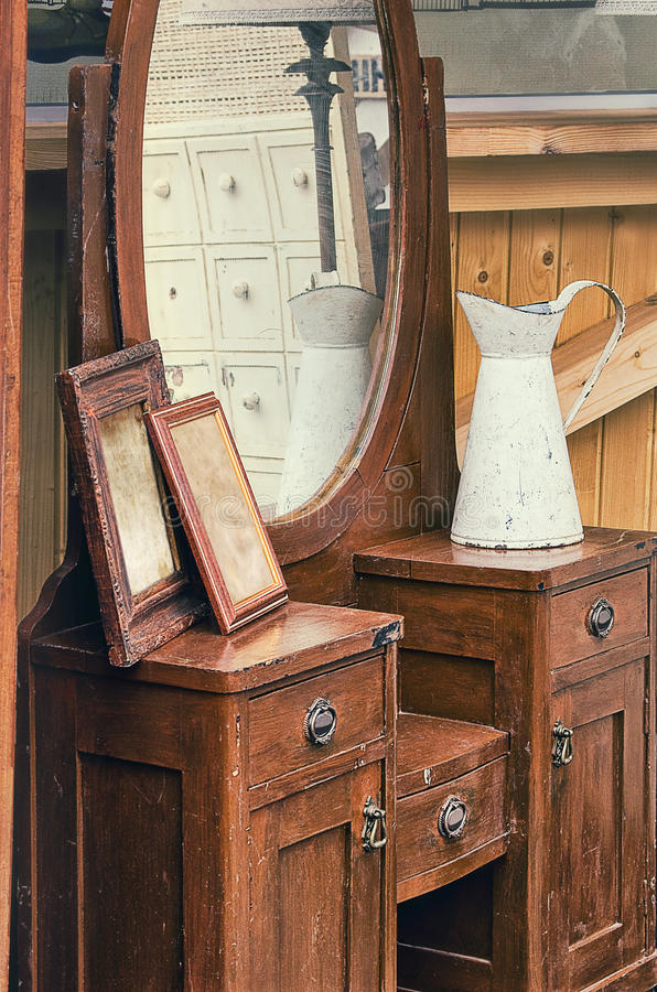 Download Old Retro Objects Antique Dressing Table With Mirror, Framed  Photographs And Jug Stock Photo - Old Retro Objects Antique Dressing Table With Mirror, Framed