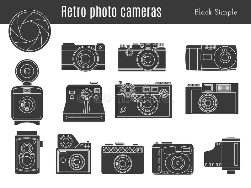 Old retro photo camera set vector illustration