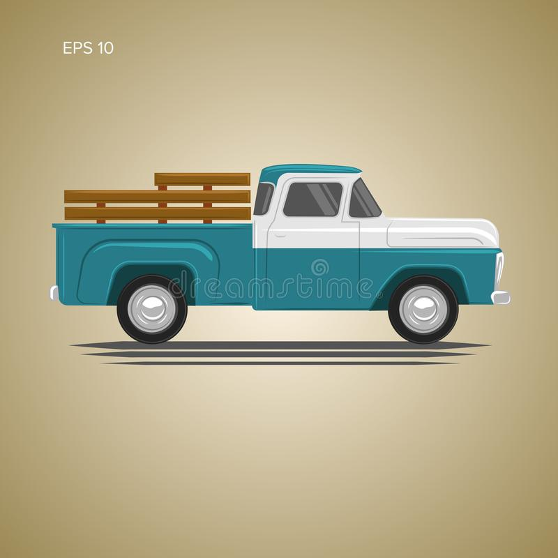 Free Old Retro Pickup Truck Vector Illustration. Vintage Transport Vehicle Stock Images - 113511604