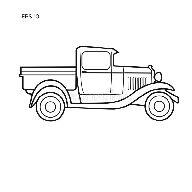 Free Old Retro Pickup Truck Vector Illustration. Vintage Transport Vehicle Line Art Stock Image - 130893131