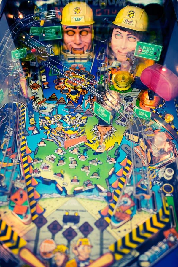 An old retro pinball machine stock photography