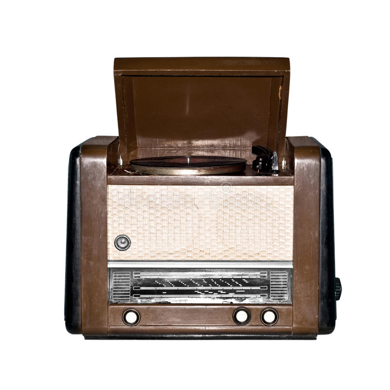 Old retro radio. Isolated on white background royalty free stock photography