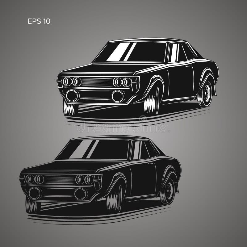 Old Retro Rally Car Vector Illustration. Stock Vector - Illustration ...