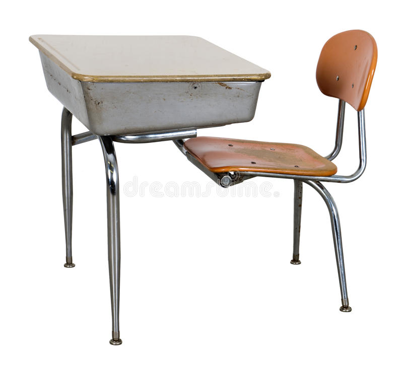 Old Retro School Desk Isolated on White. Back to school but in another era! Old retro school desk used by a young student. Isolated on white royalty free stock images