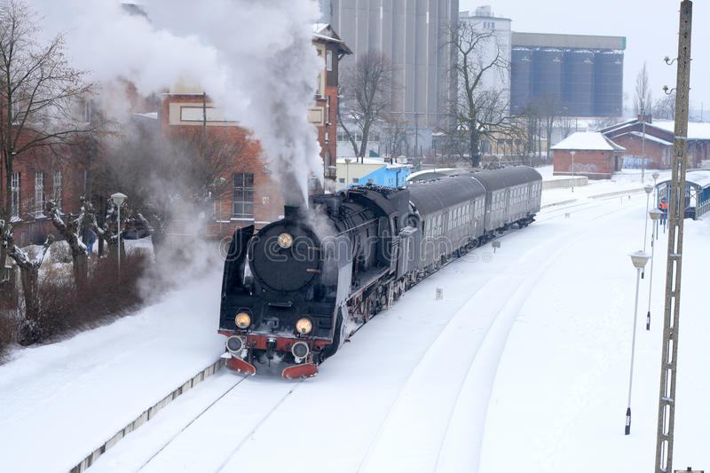 Download Old retro steam train stock photo. Image of snow, heritage - 12553130