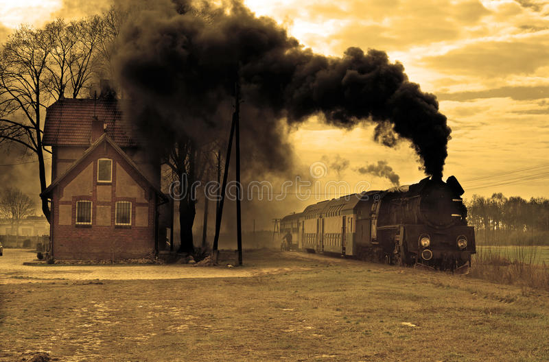 Old retro steam train stock photography