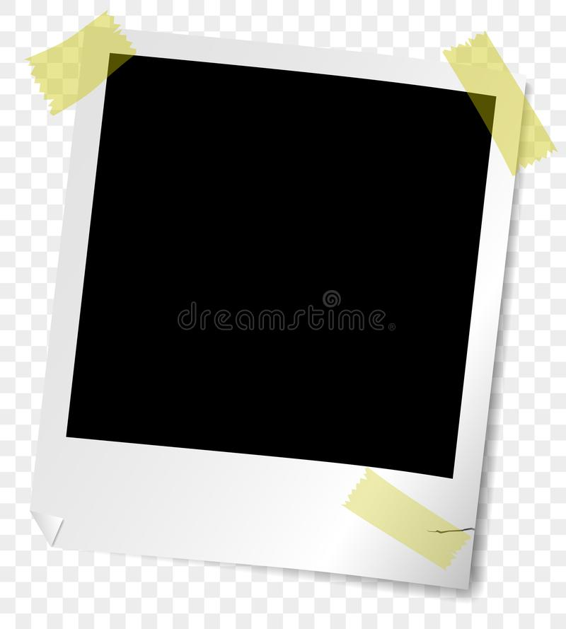 Old retro-style instant picture frame with bent corner, semi-transparent shadows and adhesive tape royalty free illustration