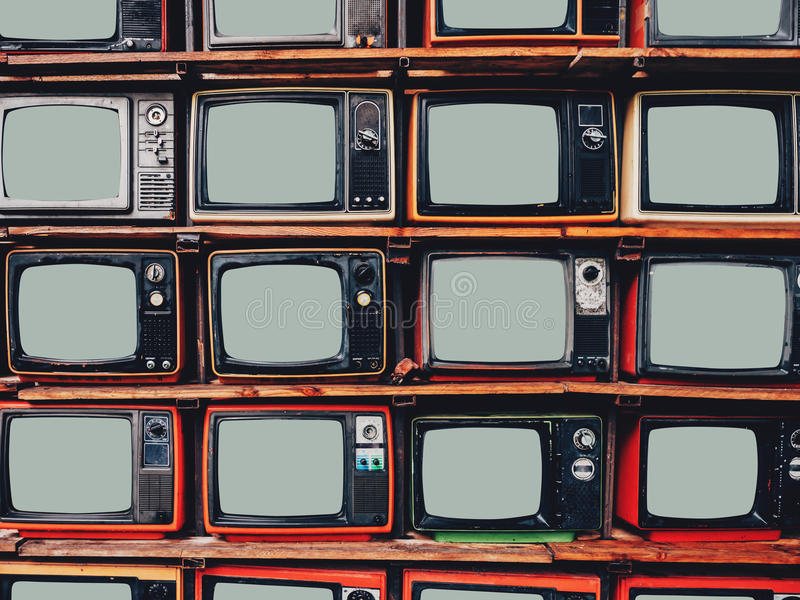 Old retro television and blank screen display.  royalty free stock photo