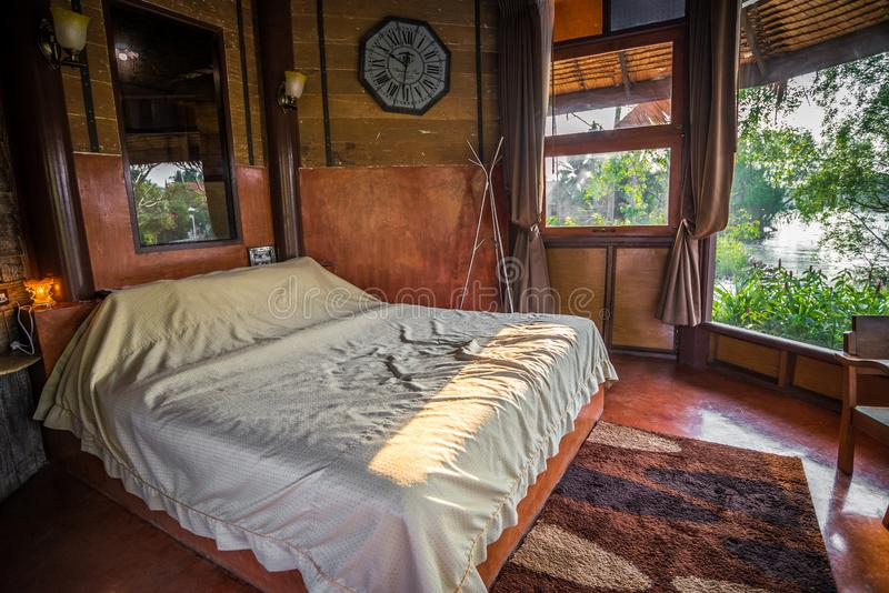 Old retro Thai style of wooden bedroom stock images