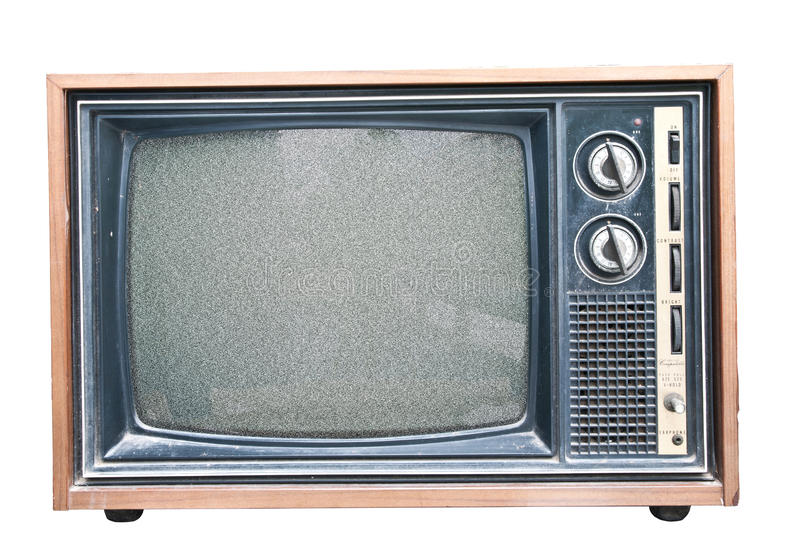 Old Retro TV noise. Old TV with noise on screen. Retro Television concept stock photography
