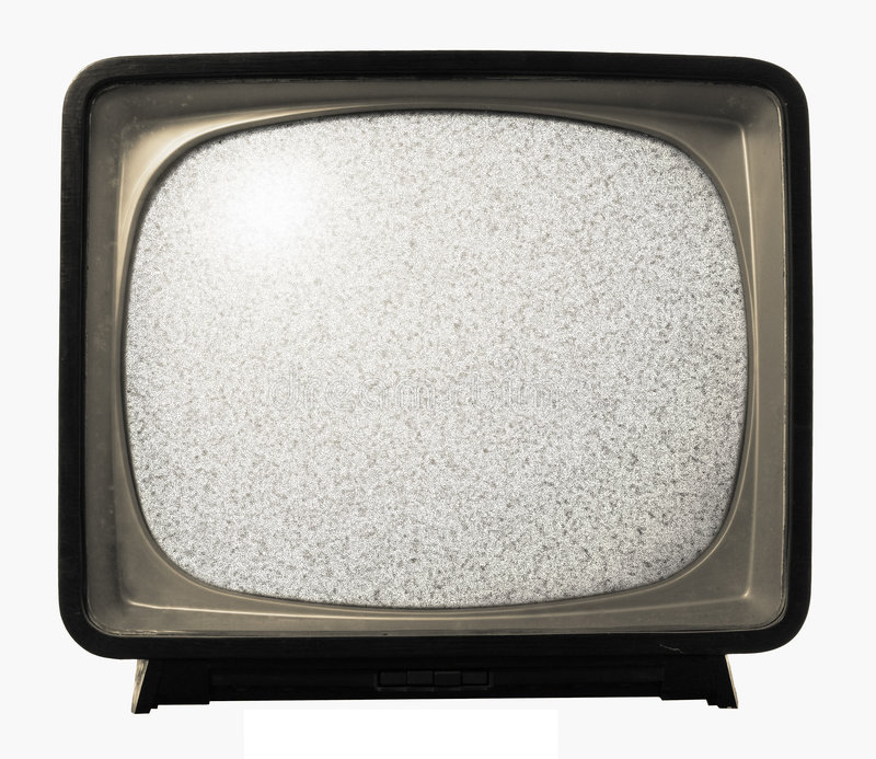 Old Retro TV noise. Old TV with noise on screen. Retro Television concept. No signal on screen royalty free stock photo