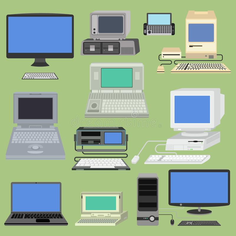 Old retro vintage vector computer pc monitor and tv screen. Classic antique technology old-style business personal stock illustration