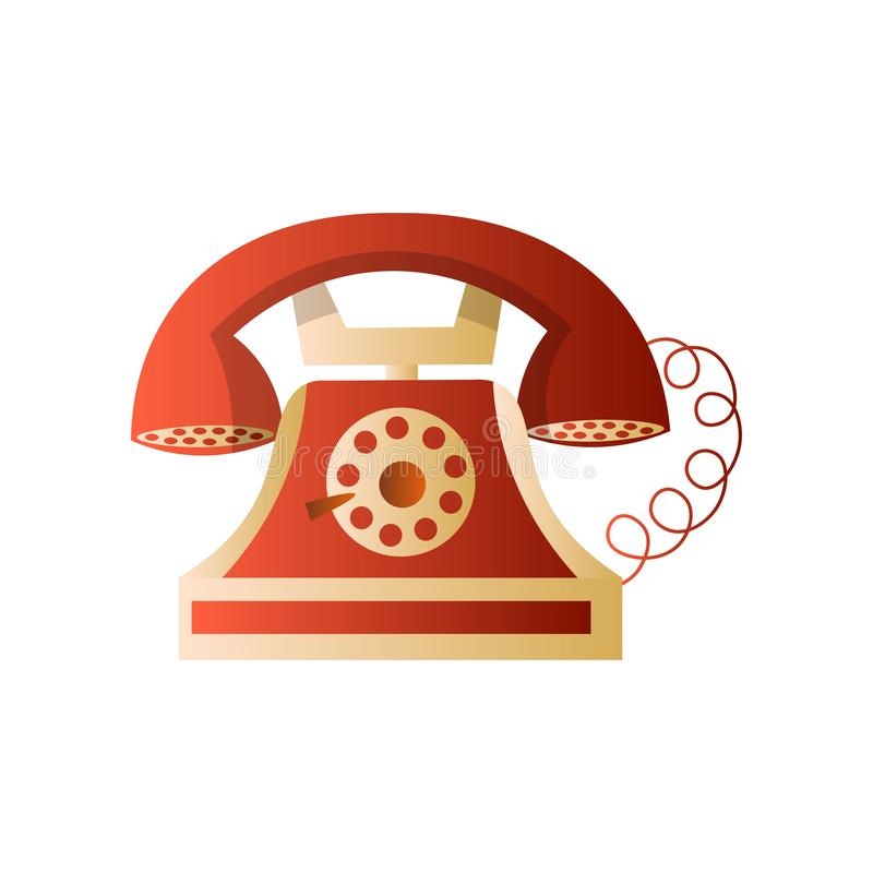 Old retro vintage wheel red telephone with cord royalty free illustration