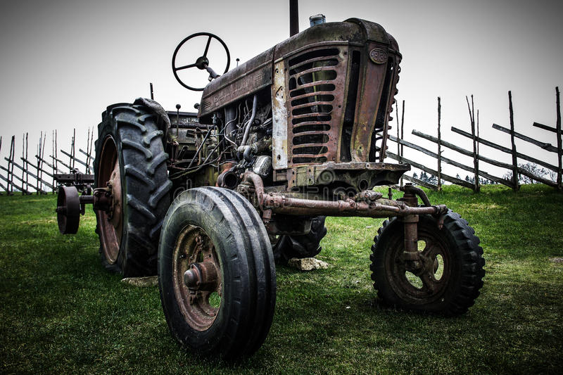 Download Old retro wheeled tractor stock image. Image of rural - 30149349
