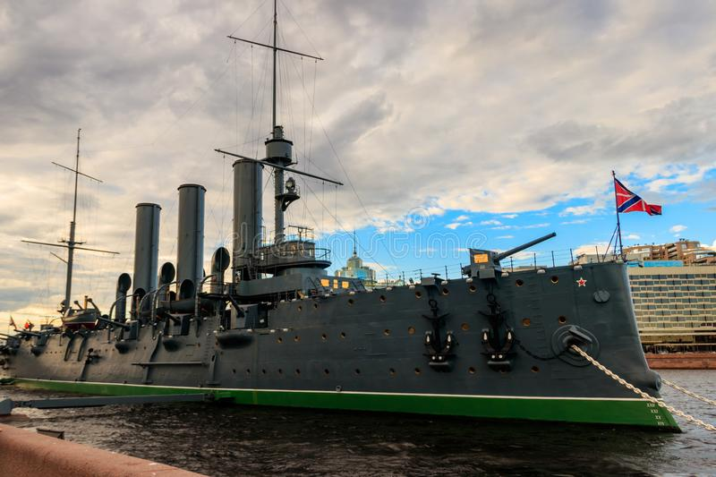 Old revolutionary Aurora cruiser, the symbol of the October revolution, currently preserved as a museum ship on the Neva river. In Saint Petersburg, Russia stock photo