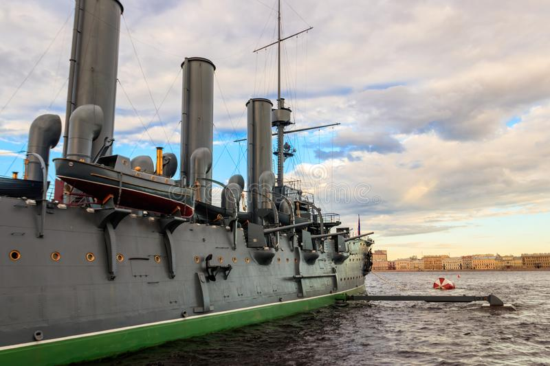 Old revolutionary Aurora cruiser, the symbol of the October revolution, currently preserved as a museum ship on the Neva river. In Saint Petersburg, Russia royalty free stock photo