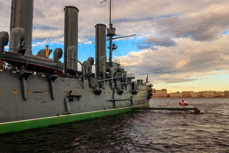 Old revolutionary Aurora cruiser,  the symbol of the October revolution, currently preserved as a museum ship on the Neva river. In Saint Petersburg, Russia stock photos