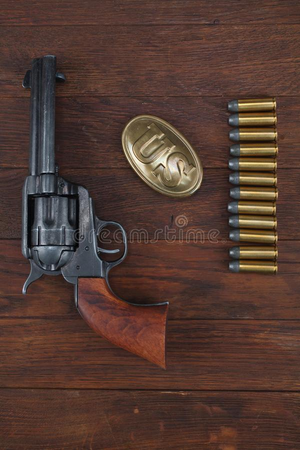 Free Old Revolver With Cartridges And U.S. Army Soldier& X27;s Belt With A Buckle Stock Photos - 144538263