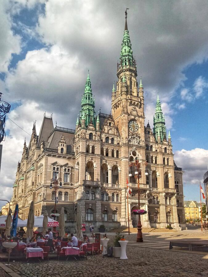 Old richly decorated fasade of city hall in Liberec, Czech Republic. Beautiful and elegant richly decorated facade of town hall in Liberec in Czech Republic royalty free stock images
