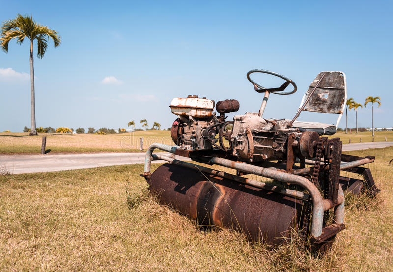 Download Old Ride-on Lawn Roller stock photo. Image of palm, machinery - 28955954