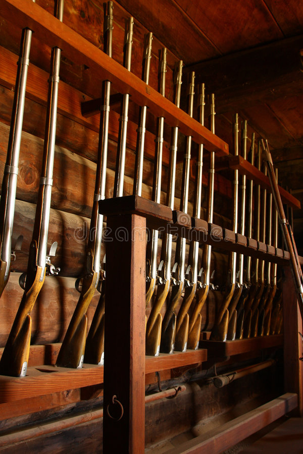 Old rifles in Fort Ross stock images