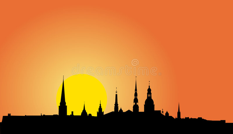 Old Riga Panorama Silhouette Royalty Free Stock Photography