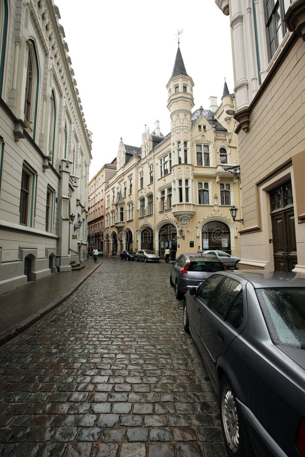 Old Riga street, Latvia. Street of an old European town. Riga, Latvia, Europe stock photos