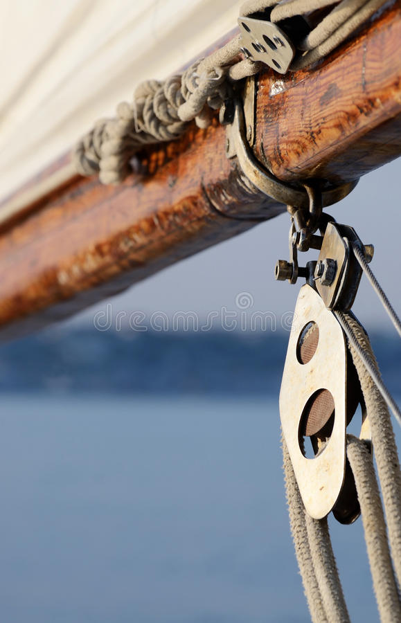 Old rigging on wooden sailing boat