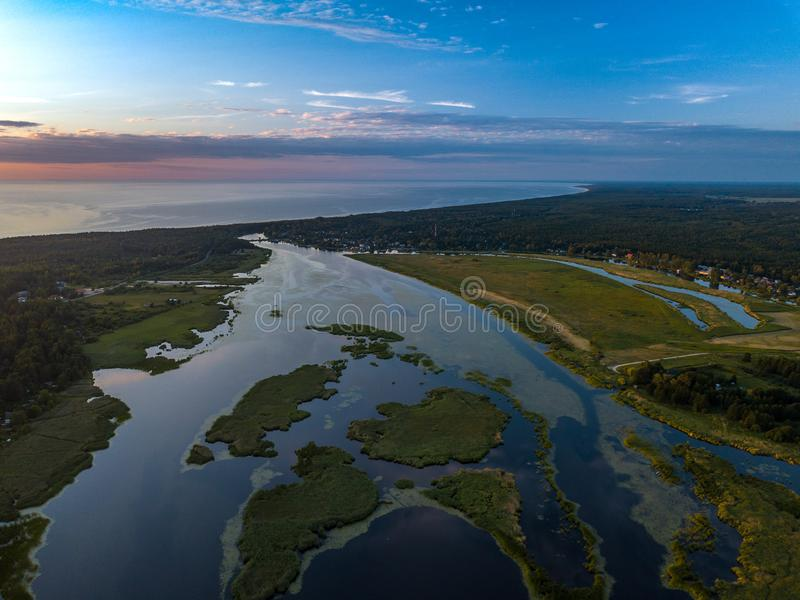The old riverbed of the river Daugava. The Gulf of Riga, top view. n. The old riverbed of the river Daugava. The Gulf of Riga, top view. Aerial, drone royalty free stock photos